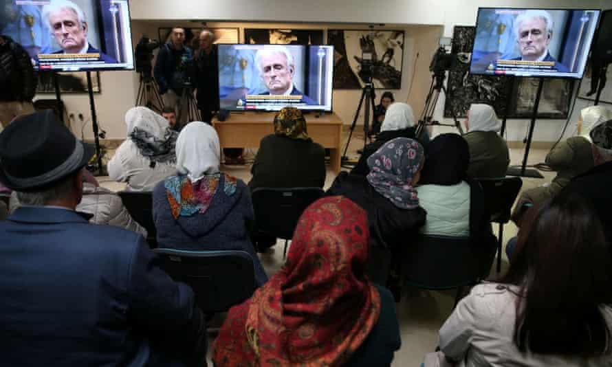 People await the judges' verdict at a memorial centre near Srebrenica.