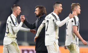 Andrea Pirlo with Juventus players, including Cristiano Ronaldo