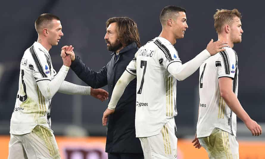 Andrea Pirlo with Juventus players including Cristiano Ronaldo