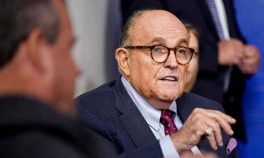 Rudy Giuliani at a press conference at the White House in late September. Trump did not specify when Giuliani tested positive.