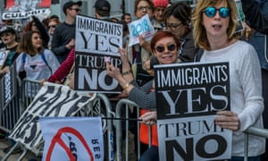 People protest Donald Trump's position on immigration.