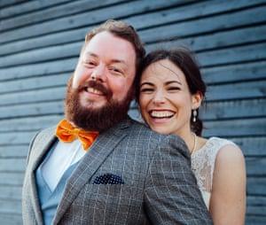 Adam Hickie and Abi Webb on their wedding day