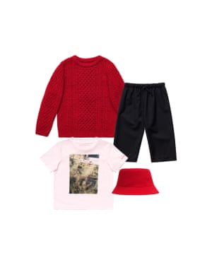 Jumper, £34.99 trousers, £34.99, T-shirt, £12.99, and hat, £19.99
