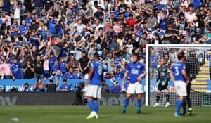 The Leicester City fans celebrate that VAR decision.