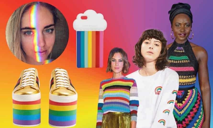Rainbow daze … Gucci flatforms, Chiara Ferrangi's Instagram filter, Stella McCartnery phone case, Alexa Chung, a model wearing a Vans sweatshirt and Lupita Nyong'o.