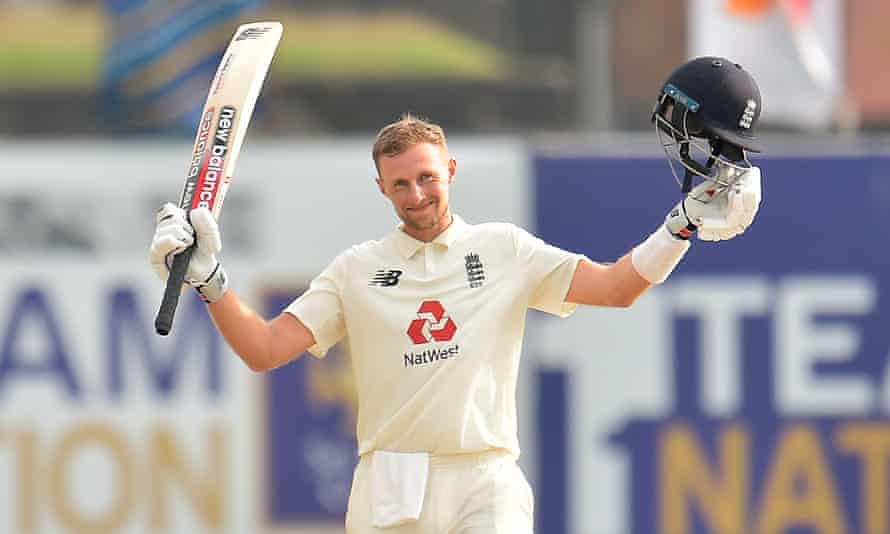 Joe Root celebrates reaching 150 against Sri Lanka