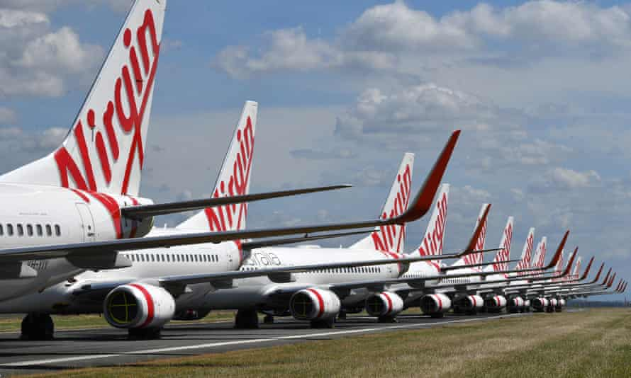 Grounded Virgin Australia aircraft parked at Brisbane Airport. The airline has now collapsed with administrators appointed to try to salvage the business.