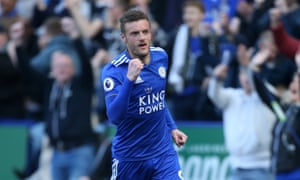 Jamie Vardy celebrates after making it 2-0.