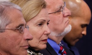 Centers for Disease Control (CDC) director Robert Redfield, third from left, with Anthony Fauci, Deborah Birx and Jerome Adams, medical officials leading the US response to coronavirus.