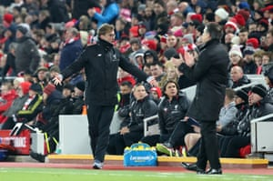 Klopp's not happy the ref moved on.