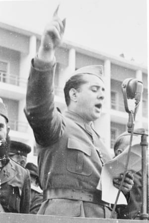 General Enver Hoxha shown addressing a rally in 1953