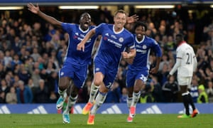 John Terry celebrates scoring the opening goal for Chelsea in his first Premier League start since mid-September.