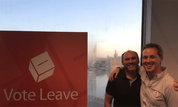 AggregateIQ's Zack Massingham, left, with Vote Leave's Stephen Parkinson pictured in the campaign's London office.