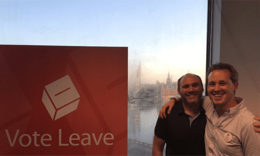 Zack Massingham, left, with Stephen Parkinson at the Vote Leave offices.