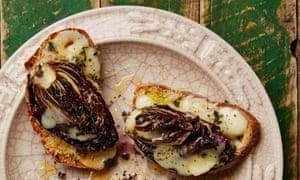 Yotam Ottolenghi's radicchio bruschetta with taleggio and truffle honey
