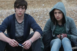 She was one of us … Georgia Groome as Georgia Nicholson with Aaron Taylor-Johnson as Robbie Jennings.