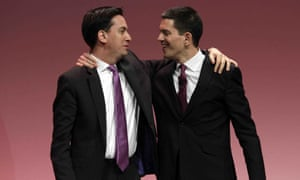 Ed and David Miliband hug each other on stage at the Labour party's conference in 2010