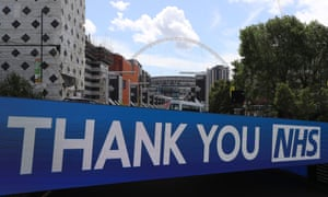 A thank you NHS sign at a deserted Wembley Park tube station close to Wembley stadium on what should have been FA Cup Final day.