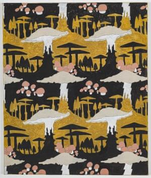 Mushroom Motif (Black and Ochre), 2017, by Alex Morrison.
