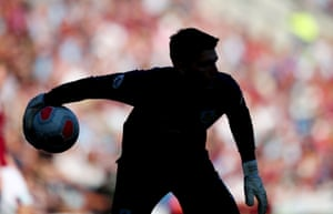 A silhouette of Burnley's Nick Pope in action at Turf Moor as Burnley beat Norwich to climb above their opponents.