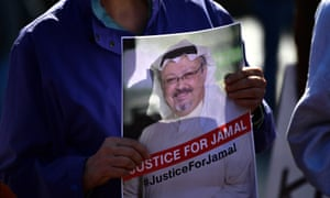 Protesters outside the White House urhging the US government to take action over Jamal Khashoggi.