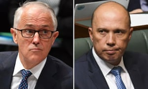 Malcolm Turnbull and his challenger, Peter Dutton.