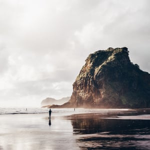 Surf central. Piha beach is a popular day trip for Aucklanders – it was the birthplace of New Zealand surfing in 1958. The beach is guarded by Lion Rock at the north end.