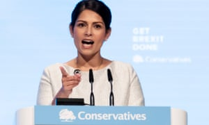Home Secretary Priti Patel making her keynote speech at the Conservative Party Conference 2019