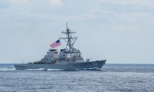 The guided-missile destroyer USS Stethem, pictured, sailed through the Taiwan Strait with USS William P Lawrence on Sunday.