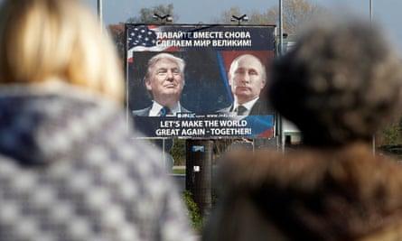 A billboard showing Trump and Putin in Danilovgrad, Montenegro.
