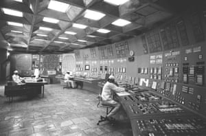 The control room of a nuclear reactor at the Chernobyl power plant before the explosion.
