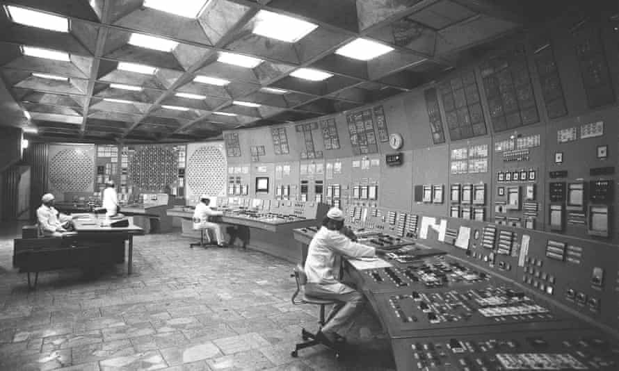 The control room at the Chernobyl power plant months before the explosion.