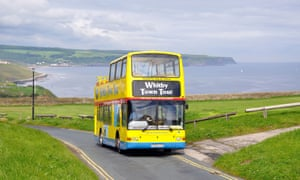 open top, double decker bus, Whitby, North Yorkshire, England, UK