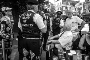 Corbyn chats to pearly kings and queens attending Armed Forces Day in Islington in June