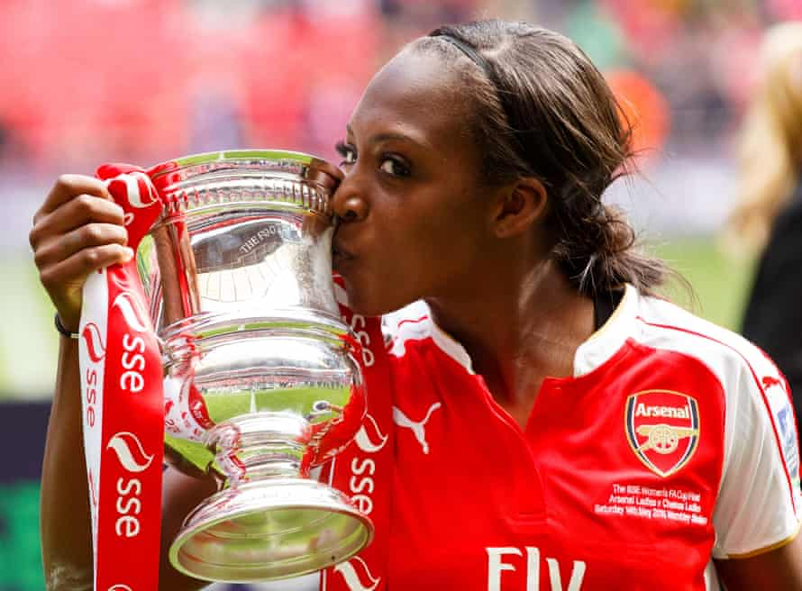 Danielle Carter with the Women's FA Cup after Arsenal beat Chelsea in the 2016 final.