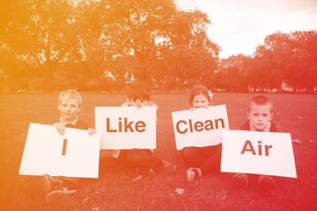 School children in Hackney, east London, campaign for cleaner air.