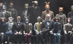 Chloe Briot (third from left) as Pinocchio and Vincent Le Texier (third from right) as the father in Pinocchio by Philippe Boesmans.