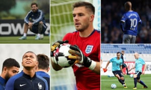 Clockwise from centre: England's Jack Butland, Republic of Ireland's David McGoldrick, Australia's Aaron Mooy, Kylian Mbappé of France and Argentina's Lionel Messi.