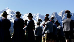 Garmisch-Partenkirchen, Germany Members of the Bavarian Mountain infantry in traditional uniforms take part in a celebration of their patron saint