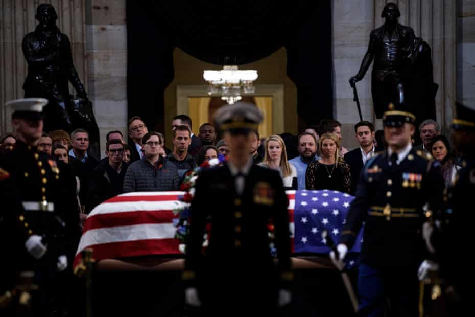 People pay respects to George HW Bush on 4 December 2018 in Washington DC.