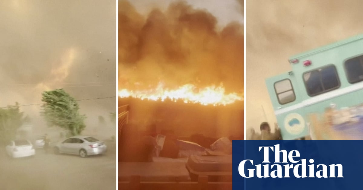 'It's a tornado': firefighter captures blaze engulfing California town – video