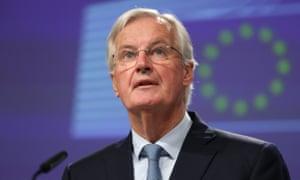 Michel Barnier at his press conference.