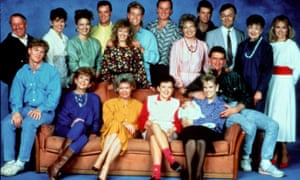 The original Neighbours cast: Vivean Gray, aka Mrs Mangel, is second from right.