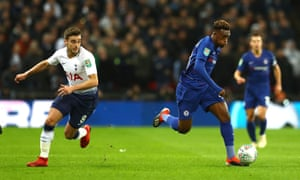 Callum Hudson-Odoi of Chelsea puts the burners on to go past Harry Winks of Tottenham Hotspur.