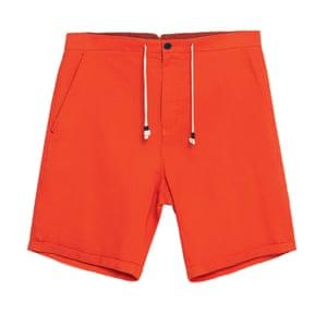 red cotton bermuda shorts