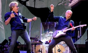 (L-R) Roger Daltrey and Pete Townshend of the Who perform at the Desert Trip festival, California, 16 October 2016.