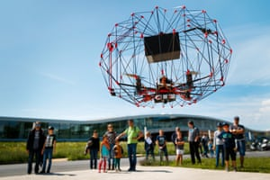 Lausanne, SwitzerlandA caged autonomous cargo drone flies in front of the education centre during the EPFL drone days at the Swiss Federal Institute of Technology