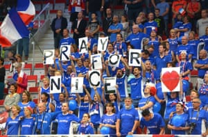 Trinec, Czech Republic Fans of the French Davis Cup team observe a minute of silence for the victims during the International Tennis Federation Davis Cup quarter-final opening ceremony