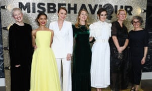 Philippa Lowthorpe, far left, at the Misbehaviour premiere, 9 March 2020.