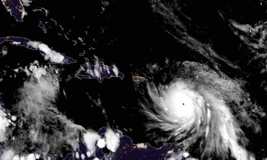 The eye of Hurricane Maria as it neared Dominica on Monday.